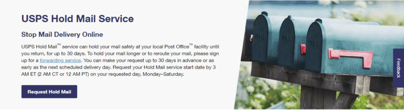 USPS Hold Mail Service
