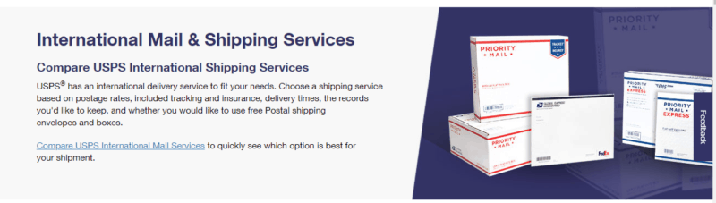 Compare international mail and shipping service